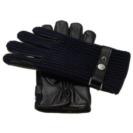 Ace perfect gebreide wollen handschoenen heren blauw leer