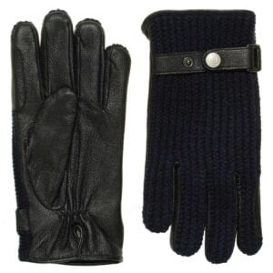 Ace perfect gebreide wollen handschoenen blauw leer heren