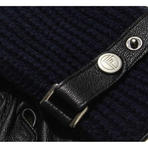 Ace perfect knitted wool gloves blue leather men