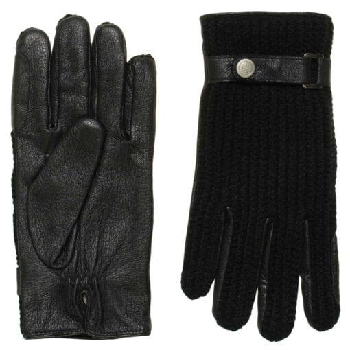 Ace perfect zwart gebreide wollen leren handschoenen heren