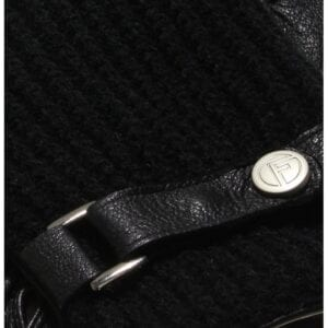 Ace perfect black knitted wool leather gloves men