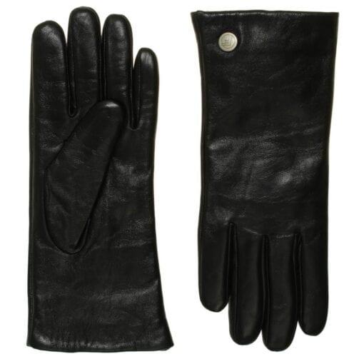 Ava lederen dames handschoenen in kleur zwart