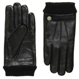 Dean luxe zwart lederen heren handschoenen gevoerd