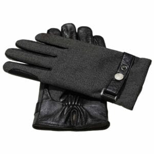 Finn Gevoerde Grijze Stoffen Heren Handschoenen met Riem | Zwart Geiten Leren Handpalm en Warme Winter Kasjmier Voering | Frickin Finn heren