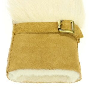 Ivy exclusive merino suede ladies mittens with tuscan fur