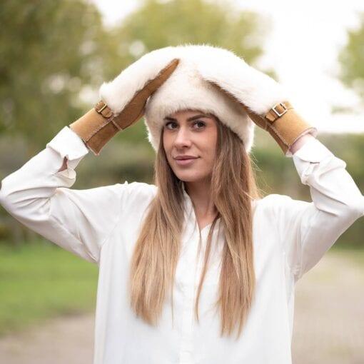Frickin Ivy dames wanten beige camel fur 4