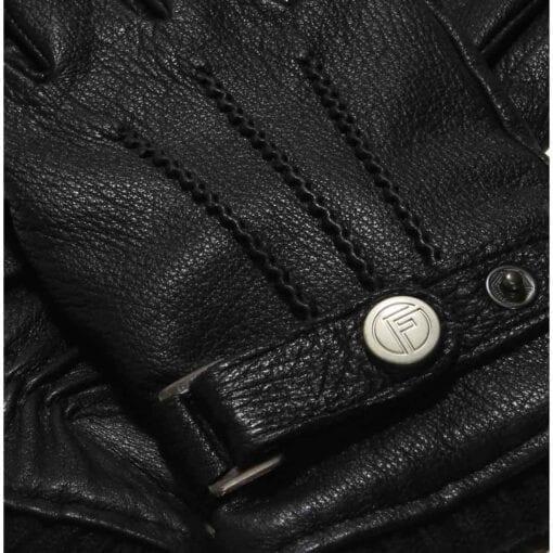 Jack schwarze Leder Herrenhandschuhe mit Schnalle