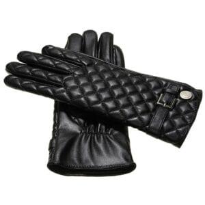 Joy luxe vegan eco lederen dames handschoenen met riem