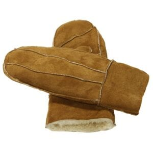 Puck zen leather suede lined mittens lammy (camel)