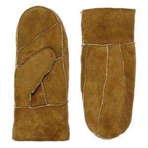 Puck zen leather suede mittens lammy (camel)