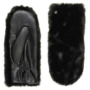 lily eco lederen wanten met faux fur, vegan leer