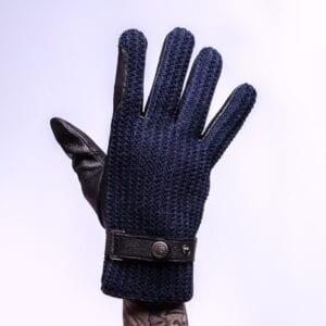 Frickin Ace perfect gebreide wollen handschoenen heren blauw leer