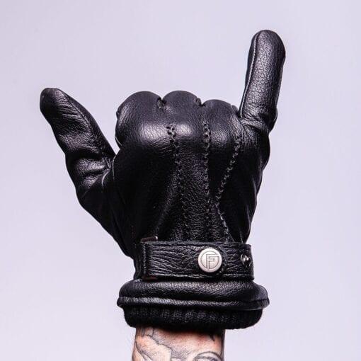Frickin Jack zLeren Heren Handschoenen Zwart met gesp