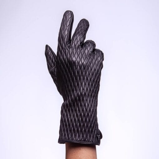 leather patterned gloves for women