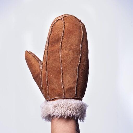 Frickin Puck zen leather suede lined mittens lammy (camel)