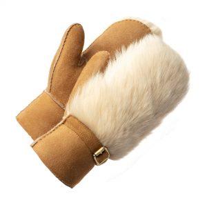 Damen-Fäustlinge aus Merinowildleder mit toskanischem Fell