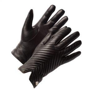 Schwarze Lederhandschuhe für Damen mit Muster